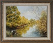 Sale 8973 - Lot 2049 - Marion Phee River Reflections, 95, oil on board, 58 x 72 x 2 cm(frame), signed lower right