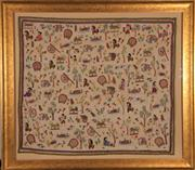 Sale 9044 - Lot 59 - Large Gilt Framed Indian Tapestry Depicting Various Scenes And Objects (H:133 x W:118cm)