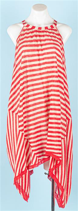 Sale 9091F - Lot 10 - A KIRRILY JOHNSON RED AND CREAM STRIPE KNIT DRESS; unusual poncho style with a back fastening, one size