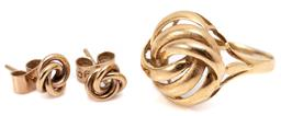 Sale 9132 - Lot 311 - A GOLD KNOT RING AND EARRINGS; 18ct gold ring with 16mm wide top, size N, wt. 3.01g, and a pair of 9ct stud earrings with 7mm wide t...