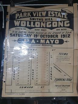 Sale 9152 - Lot 2467 - Land Sale Poster Park View Estate Smiths Hill Wollongong Saturday 19th October 1912
