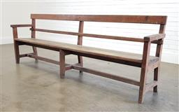 Sale 9174 - Lot 1424 - Large rustic timber bench seat (h:88 x w:240 x d:33cm)