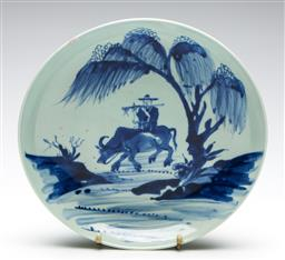 Sale 9253 - Lot 213 - A musician riding ox themed Chinese dish - chip to rim (Dia:28cm)