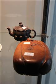 Sale 7989 - Lot 67 - Chinese Ink Stone & a Yi Xing Style Teapot