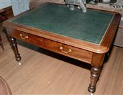 Sale 8048A - Lot 98 - A Late C19th cedar desk with green leather top and two drawers. 80 (h) x 136 (w) x 107 (d)