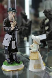 Sale 8081 - Lot 14 - Rosenthal Figure of a Busker & Royal Doulton Figure Almost Grown