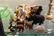 Sale 8189 - Lot 95 - Royal Copenhagen Bird Figure Group with Other Figures incl. Pair of Ceramic Foo Lions