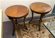 Sale 8205 - Lot 15 - A pair of cherrywood Empire style occasional tables, with quarter veneered tops, H 65 x D 52cm
