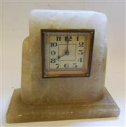 Sale 8312A - Lot 79 - A vintage alabaster alarm clock, probably French, height 16 cm