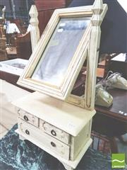 Sale 8412 - Lot 1045 - Rustic White Dresser Mirror with Three Drawers