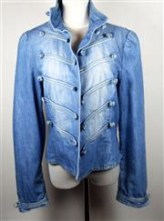 Sale 8460F - Lot 67 - A See by Chloé military style denim jacket with toggle clasps and puffed shoulders, size US 12