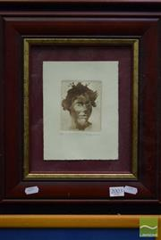 Sale 8497 - Lot 2003 - Benjamin Minns, Portrait, etching and aquatint, 9.5 x 8cm, ed. AP, signed lower right