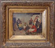 Sale 8568A - Lot 63 - Hungarian School - C19th Peasant Scene panel 19 x 26cm