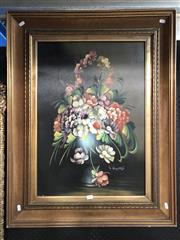 Sale 8779 - Lot 2010 - L Riccardi - Still Life Flowers, oil on canvas, 91 x 71cm, signed