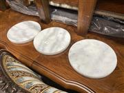 Sale 8896 - Lot 1084 - Set of 3 Round White Marble Cheese Boards (20cm)