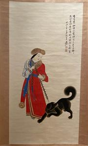 Sale 8951S - Lot 26 - Chinese Scroll of a Lady with a Dog, Ink and Colour on Paper
