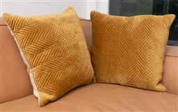 Sale 9150H - Lot 17 - A pair of mustard velvet cushions, 42 x 42cm