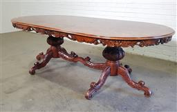 Sale 9151 - Lot 1336 - Italian style oval dining table with bur finish and carved skirt (h:76 x w:240 x d:118cm)
