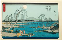 Sale 9164 - Lot 449 - Hiroshige marked Japanese woodblock print of the Tama River under Autumn moon from the snow, moon and flowers at famous places serie...
