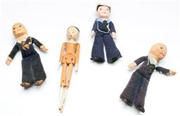 Sale 9168 - Lot 95 - A set of three vintage sailor dolls together with timber example (L:20cm)