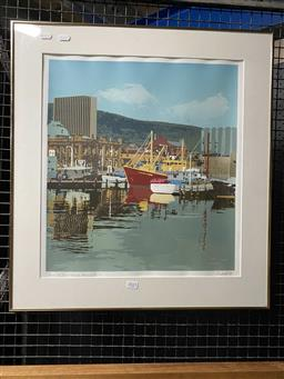 Sale 9176 - Lot 2025 - A ARMSTRONG Constitution Docks, Hobart, 1983, screenprint, ed. 1/10, frame: 64 x 59 cm, signed and dated lower right -