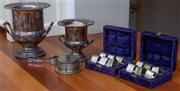 Sale 9190H - Lot 429 - Two graduating champagne coolers together with a set of ep coasters and two boxed sets of napkin rings
