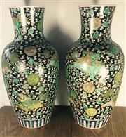 Sale 8298 - Lot 32 - Pair of Chinese black ground vase, flowers design, marks to base, H. 39.5 cm