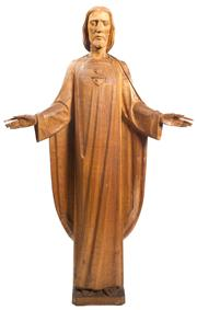Sale 8439A - Lot 71 - A mid C20th intricately carved solid timber figure of Jesus. Provenance: Holy Family Catholic Church, Lindfield, Sydney, H 154 x W 94cm