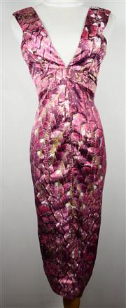 Sale 8460F - Lot 31 - A Roberto Cavalli pink print cocktail dress with deep V, size 40