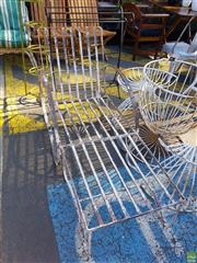 Sale 8566 - Lot 1453 - Vintage Metal Outdoor Chair and Footstool
