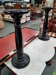 Sale 8598 - Lot 1043 - Pair of Edwardian Ebonised Pedestals, with turned shafts (H:72 W:28cm)