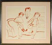 Sale 8945 - Lot 2021 - Artist Unknown Father and Children ink on paper, 30 x 37cm, unsigned -