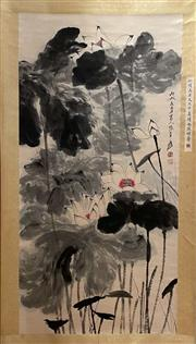Sale 8951S - Lot 27 - Chinese Lotus Scroll, Ink and Colour on Paper