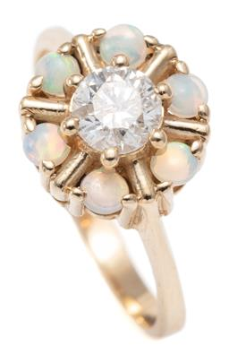 Sale 9156J - Lot 519 - A 9CT GOLD DIAMOMD AND GEM SET RING; centring an approx. 0.50ct round brilliant cut diamond P2 enhanced,  surrounded by 6 round cabo...