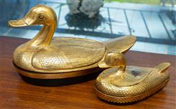 Sale 9164H - Lot 99 - Two gilt lacquered duck figural containers, Height of taller 15cm Length 29cm