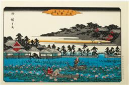 Sale 9164 - Lot 450 - Hiroshige marked Japanese woodblock print of Lotus pond at Shinobazu in Ueno from the famous places in the eastern capital (Toto Mei...