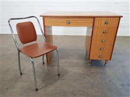 Sale 9210 - Lot 1004A - Timber art deco style kneehole desk with a metal framed chair (h:80 w:103 d:53cm)