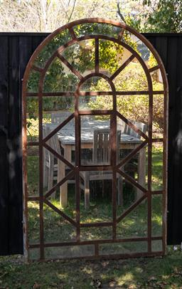 Sale 9248H - Lot 282 - An antique french industrial window fitted with mirrors height 2m