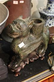 Sale 8100 - Lot 87 - Jade Beast Form Candle Holder on Stand