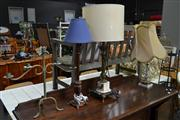 Sale 8156 - Lot 1060 - Two Gilt & Marble Table Lamps and Candle Holder