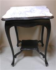 Sale 8272A - Lot 50 - A French Art Nouveau painted black with fitted marble top lamp / side table  Size 80 x 60 cm square
