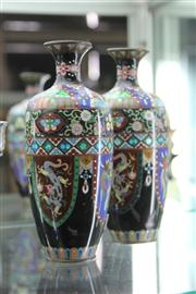 Sale 8276 - Lot 50 - Cloisonne Pair of Dragon Vases (AF)