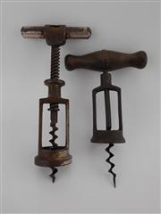 Sale 8454W - Lot 51 - Pair of Vintage French Open-Frame Corkscrews, one with turned timber handle
