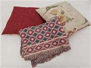 Sale 8470H - Lot 313 - A multi coloured woven throw, and two tapestry style cushions, each throw 130 x 170
