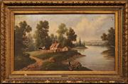Sale 8645 - Lot 2036 - V. Gallat - Countryscape 56.5 x 98cm (frame: 80 x 123cm) A/F Canvas Damaged