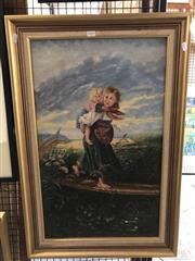 Sale 8779 - Lot 2019 - Artist unknown - Gypsy mother and child travelling, oil on canvas, 21 x 54cm (frame), unsigned