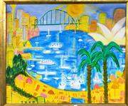Sale 8794 - Lot 2001 - Ula Richardson - Sydney Harbour Scene , oil on canvas, 74.5 x 90cm, signed lower right