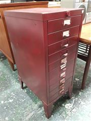Sale 8872 - Lot 1055 - Metal Filing Cabinet of Ten Drawers