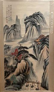 Sale 8951S - Lot 28 - Chinese Scroll of a Landscape, Ink and Colour on Paper