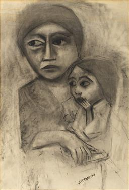 Sale 9100 - Lot 534 - Robert Dickerson (1924 - 2015) - Mother & Child 70 x 46.5 cm (frame: 103 x 77 x 3 cm)